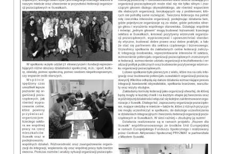 O Federacji Organizacji Pozarządowych w DwuTygodniku Suwalskim